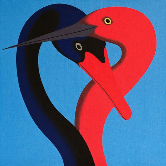 Two birds, Olieverf op doek, 40 x 40 cm, 2021