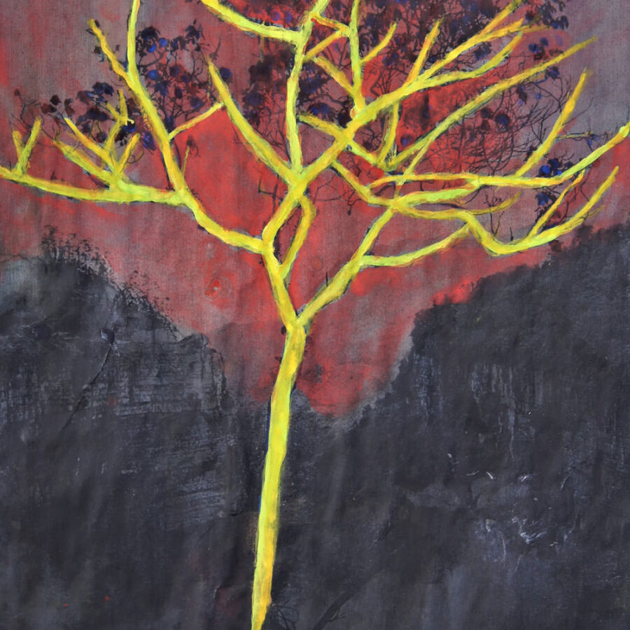 mountain tree, A4, gem. techn.