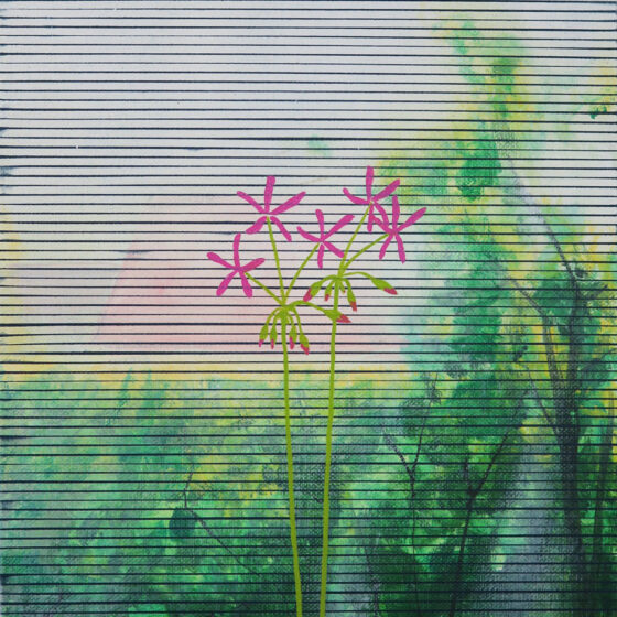 de tuin, 24 x 41 cm, acryl, lak en olieverf op doek, 2021