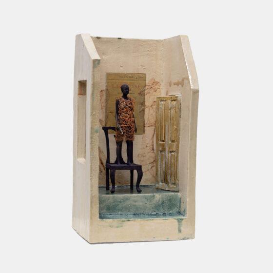 Room with a View, 2021, keramiek, brons, koper, 10 x 10 x 22 cm