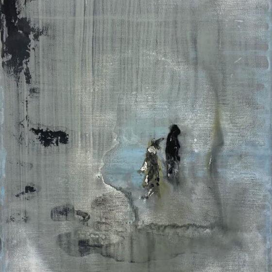 Howling dog, 50 x 40 cm, acryl verf op doek, 2021