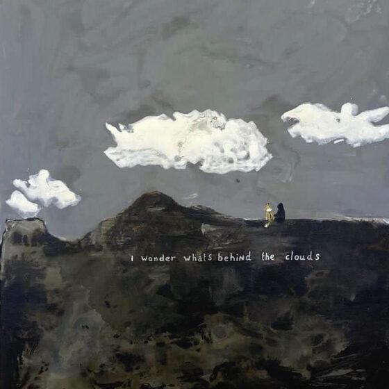 I wonder what's behind the clouds, 60 x 50 cm, acrylverf op doek, 2021