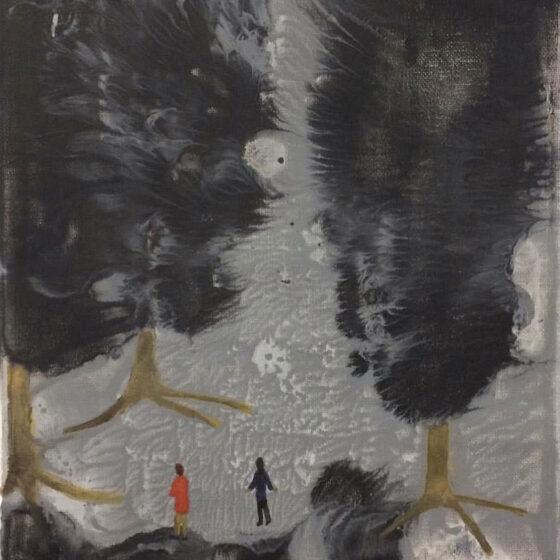 In the Woods, 2021, 30 x 24 cm, gemegde techniek op doek