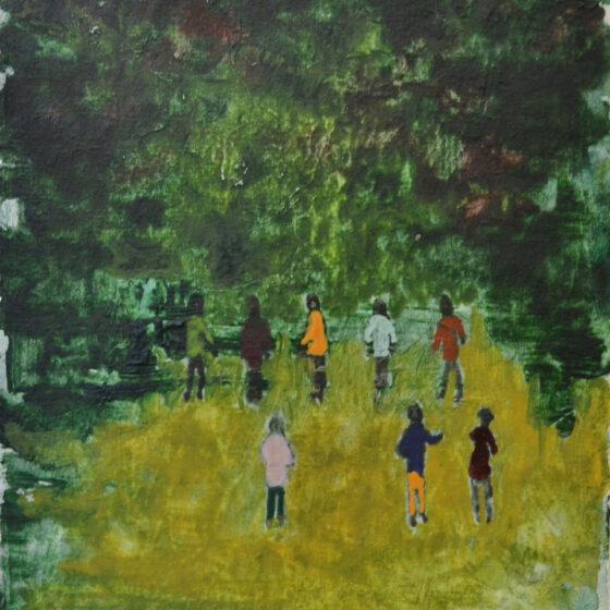 acht man in een bos, 2020, 15 x 12 cm, waterverf op papier