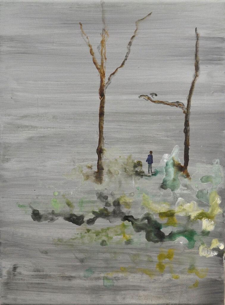 leaves from the trees, 2020, gemengde techniek op doek, 40 x 30 cm