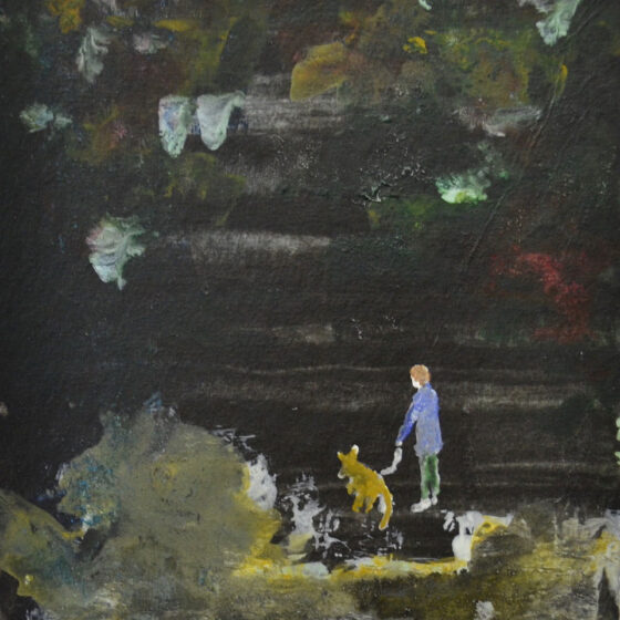 man met wallaby, 2020, 15 x 12 cm, waterverf op papier