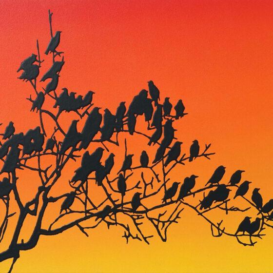 crows, acryl op mdf, 40 x 55 cm
